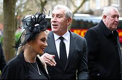 Retired England goalkeeper Peter Shilton arriving for the funeral service for Gordon Banks at Stoke Minster.