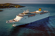 Aerial photography of cruise ship.