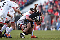 Beno Obano of Bath Rugby is tackled - Mandatory byline: Patrick Khachfe/JMP - 07966 386802 - 18/01/2020 - RUGBY UNION - Kingspan Stadium - Belfast, Northern Ireland - Ulster Rugby v Bath Rugby - Heineken Champions Cup