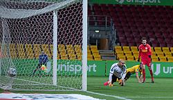 Mikkel Damsgaard (FC Nordsjælland) jubler efter scoringen til 2-0 under kampen i 3F Superligaen mellem FC Nordsjælland og AC Horsens den 19. februar 2020 i Right to Dream Park, Farum (Foto: Claus Birch).