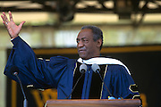 Comedian and actor Bill Cosby gives the commencement address during graduation ceremonies at the George Washington University May 18, 1997 in Washington, DC.