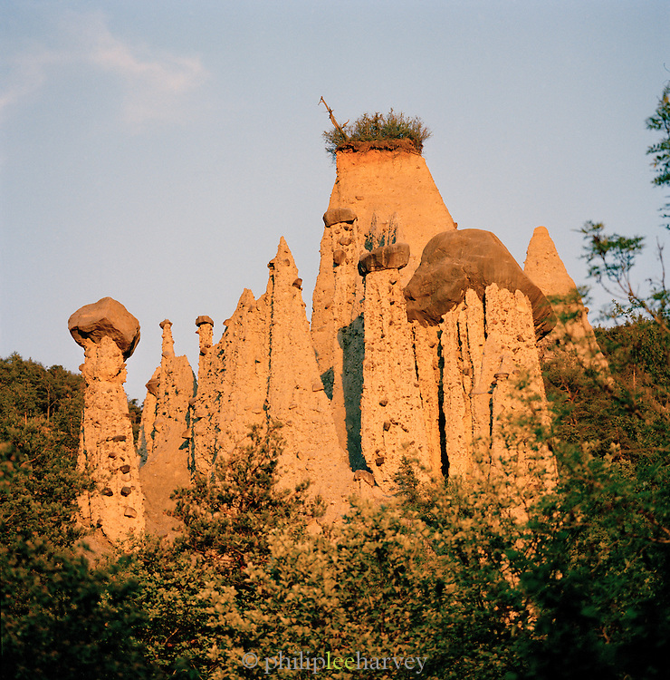 A geological rock formation called a Hoodoo at Pontis, Provence-Alpes-Cote-D'Azur, France