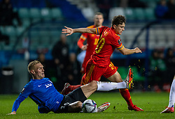 TALLINN, ESTONIA - Monday, October 11, 2021: Wales' Daniel James (R) is challenged by Estonia's Joonas Tamm during the FIFA World Cup Qatar 2022 Qualifying Group E match between Estonia and Wales at the A. Le Coq Arena. Wales won 1-0. (Pic by David Rawcliffe/Propaganda)