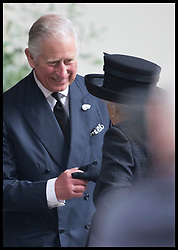 June 27, 2017 - London, London, United Kingdom - Image licensed to i-Images Picture Agency. 27/06/2017. London, United Kingdom. The Prince of Wales greets The Queen  at the funeral of Countess Mountbatten of Burma at  St.Paul's church in Knightsbridge, London. Picture by Stephen Lock / i-Images (Credit Image: © Stephen Lock/i-Images via ZUMA Press)