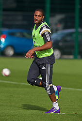 NEWPORT, WALES - Wednesday, October 8, 2014: Wales' captain Ashley Williams training at Dragon Park National Football Development Centre ahead of the UEFA Euro 2016 qualifying match against Bosnia and Herzegovina. (Pic by David Rawcliffe/Propaganda)