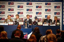 Pressconference<br /> John Madden, Ludger Beerbaum, Daniel Deusser, Scott Brash, Walter Von Känel, Silvie Robert<br /> Longines FEI World Cup™ Jumping Final 2013/2014  -  Lyon 2014<br /> © Dirk Caremans