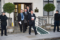 © London News Pictures. File picture dated 07/12/2012. John Lofthouse (centre right) Chief Executive of the King Edward VII Hospital in London leaving the hospital to speak to media on December 07, 2012 following the suicide of nurse Jacintha Saldanha. Reports have today suggested that Jacintha Saldanha was critical of staff at the hospital in her suicide note.  Photo credit: Ben Cawthra/LNP