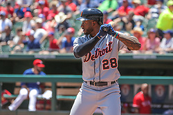 May 9, 2018 - Arlington, TX, U.S. - ARLINGTON, TX - MAY 09: Detroit Tigers outfielder Niko Goodrum (28) stands in the batters box during the game between the Detroit Tigers and the Texas Rangers on May 9, 2018 at Globe Life Park in Arlington, TX. (Photo by George Walker/Icon Sportswire) (Credit Image: © George Walker/Icon SMI via ZUMA Press)