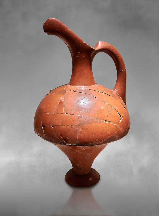 Hittite terra cotta pitcher - 16th century BC - Hattusa ( Bogazkoy ) - Museum of Anatolian Civilisations, Ankara, Turkey . Against grey art background .<br /> <br /> If you prefer to buy from our ALAMY STOCK LIBRARY page at https://www.alamy.com/portfolio/paul-williams-funkystock/hittite-art-antiquities.html  - Type Hattusa into the LOWER SEARCH WITHIN GALLERY box. Refine search by adding background colour, place, museum etc<br /> <br /> Visit our HITTITE PHOTO COLLECTIONS for more photos to download or buy as wall art prints https://funkystock.photoshelter.com/gallery-collection/The-Hittites-Art-Artefacts-Antiquities-Historic-Sites-Pictures-Images-of/C0000NUBSMhSc3Oo