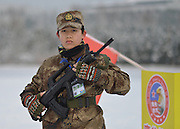 NANJING, CHINA - FEBRUARY 01: (CHINA OUT) <br /> <br /> A child is in training on the snowy playground on February 1, 2016 in Nanjing, Jiangsu Province of China. 3 girls and 11 boys, from 3 to 12 years old, got trained in the wintry cold in Nanjing.<br /> ©Exclusivepix Media