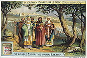 Jerusalem Delivered' (1580) epic poem by Torquato Tasso, Italian poet. Fictionalised story of First Crusade 1095-1099.  Crusaders processing to the Mount of Olives. Liebig Trade Card c1900. Chromolithograph.