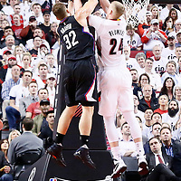 25 April 2016: Los Angeles Clippers forward Blake Griffin (32) vies for the rebound with Portland Trail Blazers center Mason Plumlee (24)` during the Portland Trail Blazers 98-84 victory over the Los Angeles Clippers, during Game Four of the Western Conference Quarterfinals of the NBA Playoffs at the Moda Center, Portland, Oregon, USA.