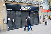 Closed Jessops shop in central business district of Swindon, England