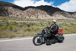 Dan Emerson riding his 1936 Harley-Davidson Knucklehead during Stage 10 (278 miles) of the Motorcycle Cannonball Cross-Country Endurance Run, which on this day ran from Golden to Grand Junction, CO., USA. Monday, September 15, 2014.  Photography ©2014 Michael Lichter.