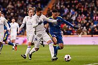 Real Madrid's Carlos Henrique Casemiro and Celta de Vigo's Theo Bongonda during Copa del Rey match between Real Madrid and Celta de Vigo at Santiago Bernabeu Stadium in Madrid, Spain. January 18, 2017. (ALTERPHOTOS/BorjaB.Hojas)