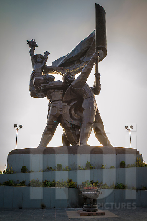 Bronze Dien Bien Phu Victory statue erected atop Hill D1 'Dominique 2' in commemoration of the 50th anniversary of the victorious battle, Muong Thanh Valley, Dien Bien Province, Vietnam, Southeast Asia