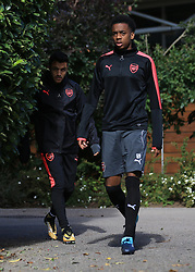 13 September 2017 -  UEFA Europa League (Group H) - Arsenal Training - Alexis Sanchez follows Joe Willock to the training pitch - Photo: Marc Atkins/Offside