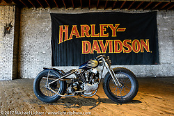Jake and Zach Hindes' (Prism Motorcycle's in Charlotte, NC) custom Harley-Davidson Knucklehead during setup day for the Mama Tried Bike Show. Milwaukee, WI, USA. Friday, February 17, 2017. Photography ©2017 Michael Lichter.