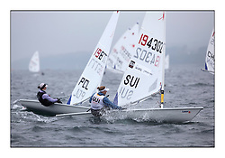 Erika Fredrikson, SUI 194302.Opening races in breezy conditions for the Laser Radial World Championships, taking place at Largs, Scotland GBR. ..118 Women from 35 different nations compete in the Olympic Women's Laser Radial fleet and 104 Men from 30 different nations. .All three 2008 Women's Laser Radial Olympic Medallists are competing. .The Laser Radial World Championships take place every year. This is the first time they have been held in Scotland and are part of the initiaitve to bring key world class events to Britain in the lead up to the 2012 Olympic Games. .The Laser is the world's most popular singlehanded sailing dinghy and is sailed and raced worldwide. ..Further media information from .laserworlds@gmail.com.event press officer mobile +44 7775 671973  and +44 1475 675129 .