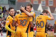 Newport's Mickey Demetriou ©  celebrates after scoring his teams 1st goal from a penalty with teammate Lenell John-Lewis who had won the first half penalty for Newport County. EFL Skybet football league two match, Newport county v Notts County at Rodney Parade in Newport, South Wales on Saturday 6th May 2017.<br /> pic by David Richards, Andrew Orchard sports photography.