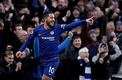 Chelsea's Eden Hazard celebrates scoring his side's third goal of the game during the Premier League match at Stamford Bridge, London.
