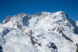 Glacier encrusted Breithorn Peak high in the Swiss Alps above Zermatt Switzerland