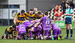 Newport and Ebbw Vale prepare for the scrum - Mandatory by-line: Craig Thomas/Replay images - 04/02/2018 - RUGBY - Rodney Parade - Newport, Wales - Newport v Ebbw Vale - Principality Premiership