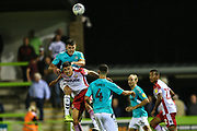 Forest Green Rovers Paul Digby(20) heads the ball clear during the EFL Sky Bet League 2 match between Forest Green Rovers and Stevenage at the New Lawn, Forest Green, United Kingdom on 21 August 2018.