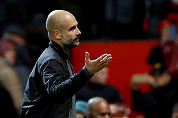 Manchester City manager Pep Guardiola after the final whistle of the Premier League match at Old Trafford, Manchester.
