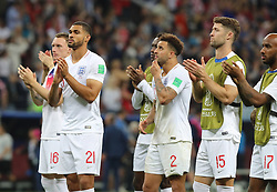 MOSCOW, July 11, 2018  Players of England greet the audience after the 2018 FIFA World Cup semi-final match between England and Croatia in Moscow, Russia, July 11, 2018. Croatia won 2-1 and advanced to the final. (Credit Image: © Yang Lei/Xinhua via ZUMA Wire)