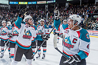 KELOWNA, CANADA - MAY 1: Leon Draisaitl #29 and Madison Bowey #4 of Kelowna Rockets celebrate the overtime win against the Portland Winterhawks at the end of game 5 of the Western Conference Final on May 1, 2015 at Prospera Place in Kelowna, British Columbia, Canada. The win puts the Rockets into the series lead 3-2 . (Photo by Marissa Baecker/Getty Images)  *** Local Caption *** Leon Draisaitl; Madison Bowey;