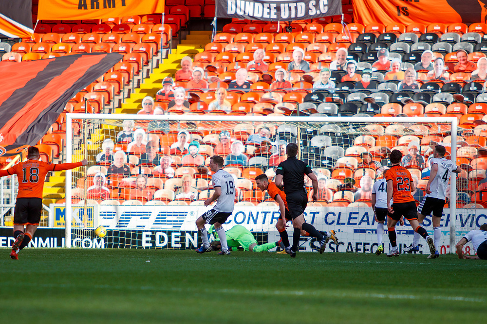 DUNDEE, SCOTLAND, MARCH 20, 2020:  Dundee Utd V Aberdeen FC Ladbrokes SPFL Premiership fixture at Tannadice Park, Dundee.<br /> <br /> Pictured: Adrian Sporle (Dundee Utd Defender) celebrates after putting Dundee Utd ahead<br /> <br /> <br /> (Photo: Newsline Media)