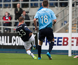 Falkirk's Rory Loy scoring their third goal.<br /> Falkirk 3 v 1 Dundee, 21/9/2013.<br /> ©Michael Schofield.