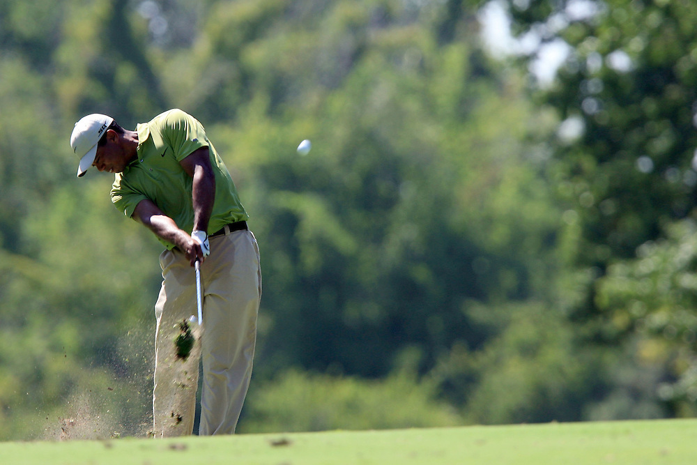 11 August 2007: Tiger Woods makes his second shot on the 7th hole during the third round of the 89th PGA Championship at Southern Hills Country Club in Tulsa, OK.