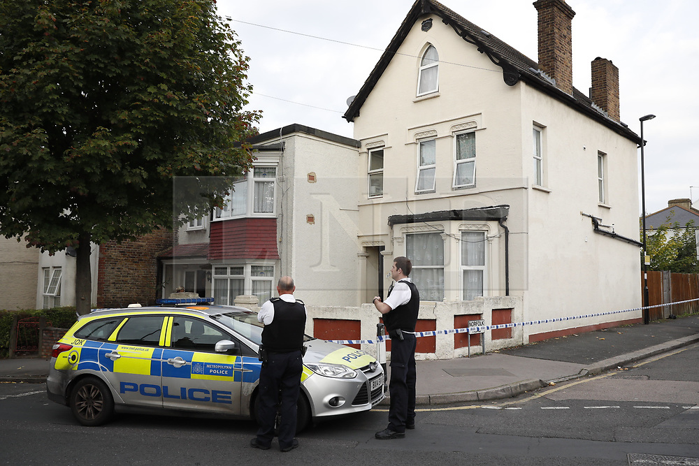 © Licensed to London News Pictures. 21/09/2017. London, UK. Police on the scene at a property on Thornton Heath, south London where a 17 year old was arrested last night.<br />  This is the sixth arrest in connection with the bombing of an underground train at Parsons Green on September 15th. The bomb failed to fully explode but still injured 30 people. Photo credit: Peter Macdiarmid/LNP