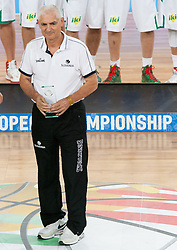 Dr. Slobodan Macura with fair play award during medal ceremony after the basketball match between National teams of Lithuania and France in final match of U20 Men European Championship Slovenia 2012, on July 22, 2012 in SRC Stozice, Ljubljana, Slovenia. Lithuania defeated France 50-49 and became European Champion 2012. (Photo by Vid Ponikvar / Sportida.com)