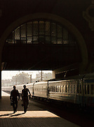 Commuters at the Belorusskaya Station, Moscow, Russia