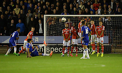 Chelsea's Radamel Falcao slips as he takes his free kick.  - Mandatory byline: Alex James/JMP - 07966 386802 - 23/09/2015 - FOOTBALL - Bescot Stadium - Walsall , England - Walsall v Chelsea  - Capital One Cup - Third Round