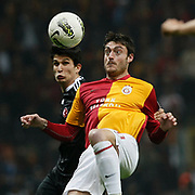Galatasaray's Albert Riera Ortega (R) Action picture during their Turkish superleague soccer derby match Galatasaray between Besiktas at the TT Arena at Seyrantepe in Istanbul Turkey on Sunday, 26 February 2012. Photo by TURKPIX