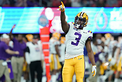 JaCoby Stevens #3 of the LSU Tigers reacts to a play during the first half against the Oklahoma Sooners in the 2019 College Football Playoff Semifinal at the Chick-fil-A Peach Bowl on Saturday, Dec. 28, in Atlanta. (Jason Parkhurst via Abell Images for the Chick-fil-A Peach Bowl)