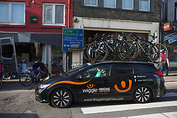The Wiggle Hi5 Cycling Team team car arrives at  the start of Liege-Bastogne-Liege - a 136 km road race, between Bastogne and Ans on April 22, 2018, in Wallonia, Belgium. (Photo by Balint Hamvas/Velofocus.com)