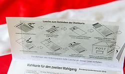 THEMENBILD - Wahlkarte für die Stichwahl der Bundespräsidentenwahl 2016 in Österreich. Aufgenommen am 09.09.2016 in Wien, Österreich // Polling Card for the presidential elections 2016 in austria. Vienna. Austria on 2016/09/09. EXPA Pictures © 2016, PhotoCredit: EXPA/ Michael Gruber