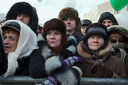 Moscow, Russia, 04/02/2012..Tens of thousands of demonstrators march and protest against election fraud and Prime Minister Vladimir Putin in temperatures of -20 centigrade. Organisers claimed an attendance of 130,000 despite the bitter cold.