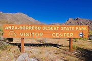 Entrance sign at the visitor center, Anza-Borrego Desert State Park, California USA