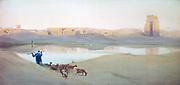 The Sacred Lake, Karnak', c1900. Watercolour. Robert Talbot-Kelly (1861-1934) English orientalist landscape painter. Egypt Landscape Water Ruins Goatherd