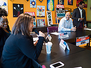 """27 NOVEMBER 2019 - DES MOINES, IOWA: US Senator CORY BOOKER (D-NJ) participates in a """"Building a Beloved Community"""" Roundtable he hosted in Des Moines Wednesday morning. Senator Booker is running to be the Democratic nominee for the US Presidency in 2020. Iowa hosts the first selection event of the presidential election season. The Iowa caucuses are February 3, 2020.      PHOTO BY JACK KURTZ"""