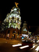 A view of Gran Via, one of the main  boulevards of commerce in Madrid, Spain.