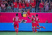 ANTWERPEN - John-John Dohmen (Belgie) heeft gescoord    mannen  Belgie-Spanje (5-0),  tijdens de finale van het Europees kampioenschap hockey. ..   COPYRIGHT KOEN SUYK