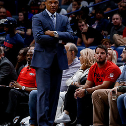 Oct 3, 2017; New Orleans, LA, USA; New Orleans Pelicans head coach Alvin Gentry against the Chicago Bulls during the second half of a NBA preseason game at the Smoothie King Center. The Bulls defeated the Pelicans 113-109. Mandatory Credit: Derick E. Hingle-USA TODAY Sports
