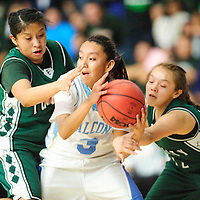 020813  Adron Gardner<br /> <br /> Tuba City Warriors Shinaya Henry (22), left, and Shauntee Chee (12) trap Alchesay Falcon Raeleigh Johnson (3) in Chinle Friday.